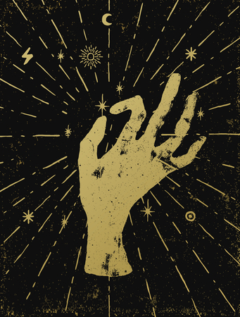 Gold witchs hand with light rays and symbols of the elements of the cosmos. Vector illustration on black textured background. Tattoo, sticker, patch or poster print design.