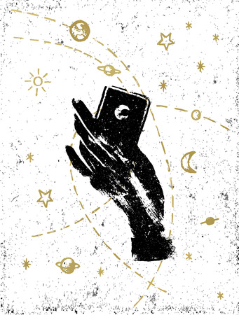 Black witchs hand with symbolic cosmos illustration on white textured background. Tattoo, sticker, patch or poster print design.