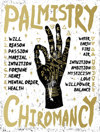 Palmistry, chiromancy. Black hand on a white textured background. Poster print design, vector illustration.