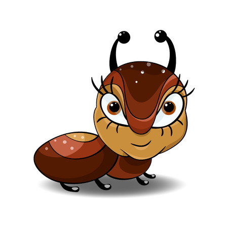 character traits: Little brown ant with big eyes and small mouth,design,postcard. Illustration