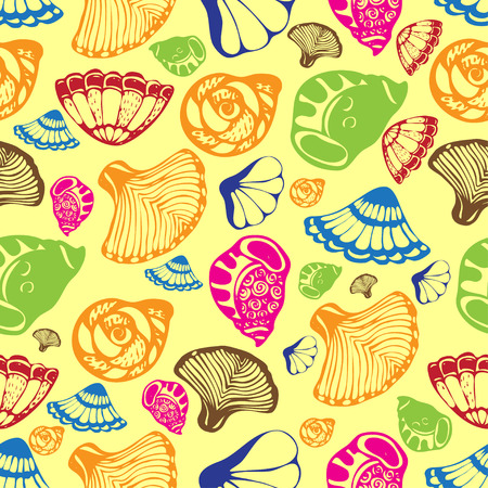 oceanside: A pattern with colored shells on the beige background.