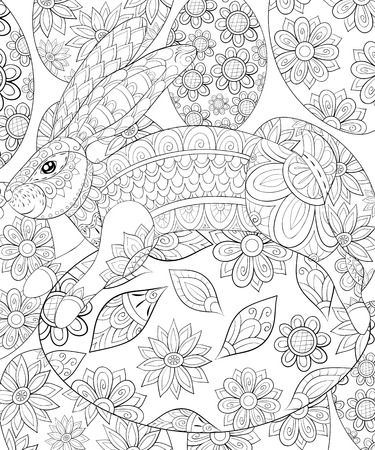 Adult coloring book, page for a cute Easter rabbit on a egg image for relaxing.Zen art style illustration.