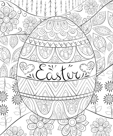 A coloring book for adults. Easter egg on the abstract background.