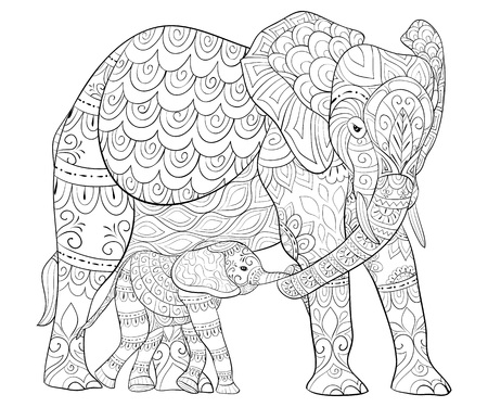 Adult coloring book, page for baby. Çizim