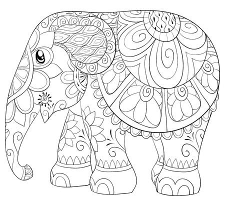 Libro de colorear para adultos, página para relajarse.Ilustración de estilo de arte Zen para imprimir.