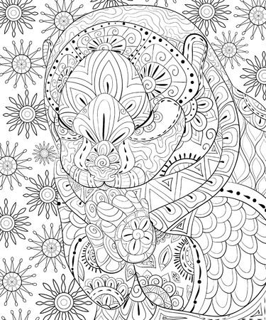 Ein niedlicher Otter mit Zen-Ornamenten-Bild für Erwachsene für entspannende Aktivitäten. Zen-Kunst-Stilillustration für den Druck. Konzeptkunst, Designplakat.