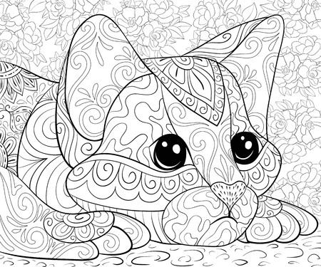 Eine süße kleine Katze im Hintergrund mit Blumenbild für Erwachsene für entspannende Aktivitäten. Zen-Kunststilillustration für den Druck. Posterdesign.