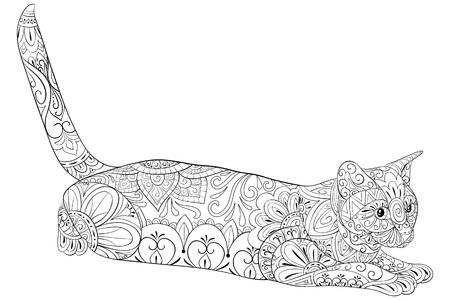 Un lindo gato con adornos zen para adultos para actividad relajante.Ilustración de estilo de arte zen para imprimir.Diseño de póster. Ilustración de vector