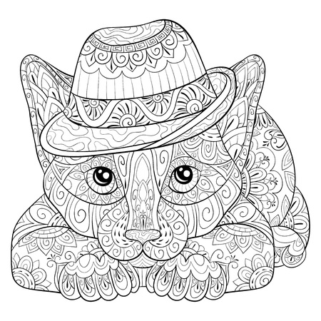 A cute  cat  wearing a hat with zen ornaments for adults for relaxing activity.Zen art style illustration for print.Poster design. Illustration