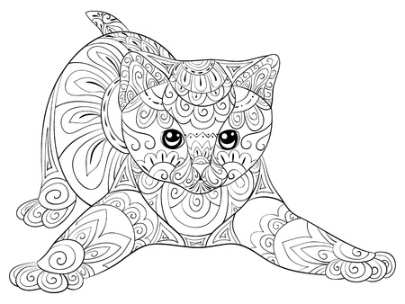 A cute cat with zen ornaments for adults for relaxing activity.Zen art style illustration for print.Poster design.