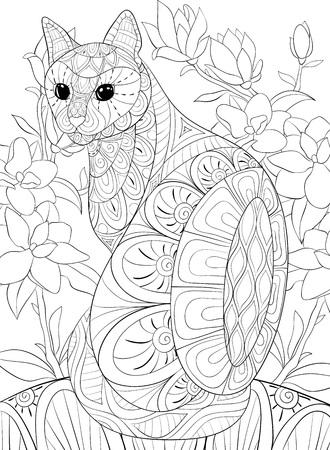 Un lindo gato en el fondo con imagen de flores para adultos para actividad relajante.Ilustración de estilo de arte Zen para imprimir.Diseño de póster.