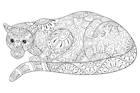 Une panthère mignonne avec une image d'ornements zen pour adultes pour une activité de détente. Illustration de style art zen pour l'impression. Conception d'affiches. Vecteurs