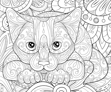 A cute  cat on the floral abstract background image  for adults for relaxing activity.Zen art style illustration for print.Poster design. Ilustração