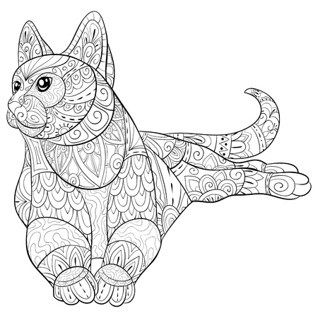 Eine süße Katze mit Zen-Ornamenten für Erwachsene für entspannende Aktivitäten.Zen-Art-Illustration für den Druck.Poster-Design.