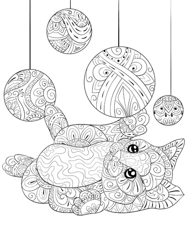 A cute  little cat with zen ornaments playing with Christmas decoration balls  image for adults for relaxing activity.Zen art style illustration for print.Poster design.