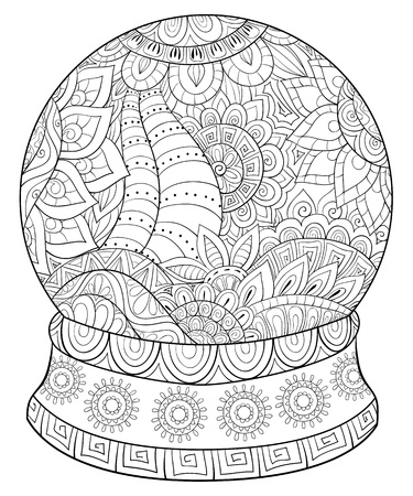 A cute Christmas decoration ball image with zen ornaments for adults for relaxing activity.Zen art style illustration for print.Poster design.