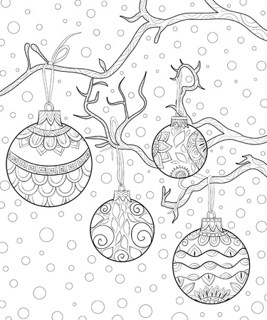 A christmas balls with bow on the brunch with zen ornaments image for adults for relaxing activity.Zen art style illustration for print.Poster design.