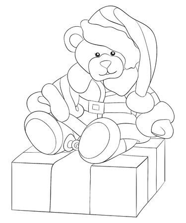 A cartoon bear wearing a Christmas cap,boots,gloves and sheepskin on the gift box image for adults and children.Line art style illustration for relaxing.Poster design for print.