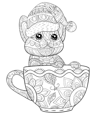 A cute cat wearing a Christmas cap in a cup with ornaments  image for adults.Zen art style illustration for relaxing.Poster design for print.