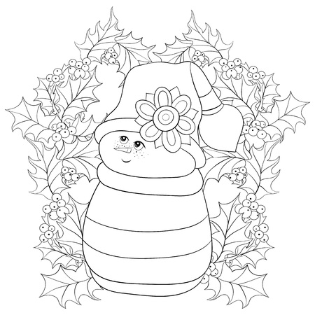 A cute snowman wearing a cap on the background with leaves and berries image for adults and children,line art style illustration for relaxing activity.Poster design for print.