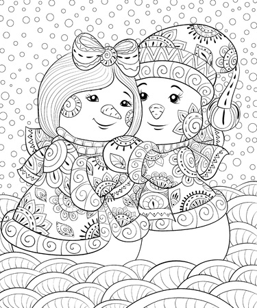 A pair of snowmen wearing a Christmas cap,scarf,gloves and waistcoat on the background with snowflakes image for adults,zen art style illustration for relaxing activity.Poster design.