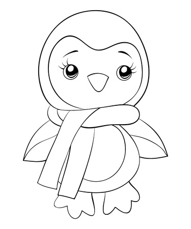 A little cute penguin icon wearing a scarf image for print and relaxing activity.Line art style illustration for children and adults for print. 向量圖像
