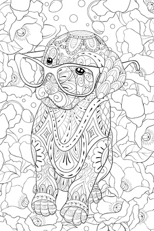 A cute little dog wearing glasses on the  floral background image for adults.Zen art style illustration for relaxing activity.Poster design for print. Ilustracja
