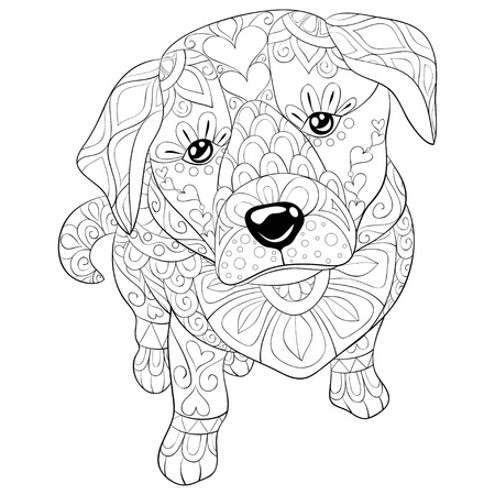 A cute dog with zen ornaments image for adults.Zen art style illustration for relaxing activity.Poster design for print.