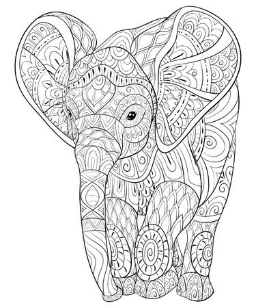 Un éléphant mignon avec une image d'ornements pour les adultes. Illustration de style art zen pour une activité relaxante. Conception d'affiche pour l'impression.