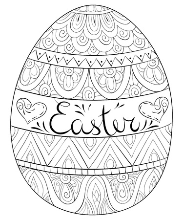 An Easter egg with ornaments and lettering image for adults and children.Zen art style illustration for relaxing activity.Poster design for print. Vector Illustration