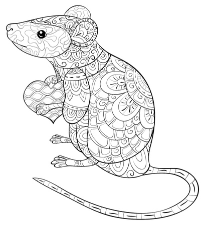 A cute rat with ornaments with heart in her hands image for adults.Zen art style illustration for relaxing activity.Poster design for print.Valentine's Day.