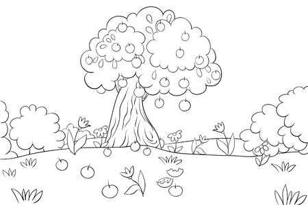 A Coloring Book,page An Apple Tree On The Field With Flowers ...