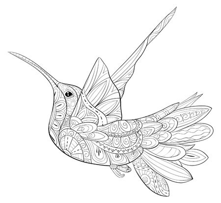 A cute flying hummingbird with ornaments image for adults for relaxing activity,A coloring book,page for relaxing activity.Zen art style illustration for print.Poster design.