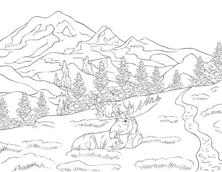 A nature landscape with a deer,mountains and fir trees image for adults.Line art style illustration for print.A coloring book,page for relaxing activity.Poster design.