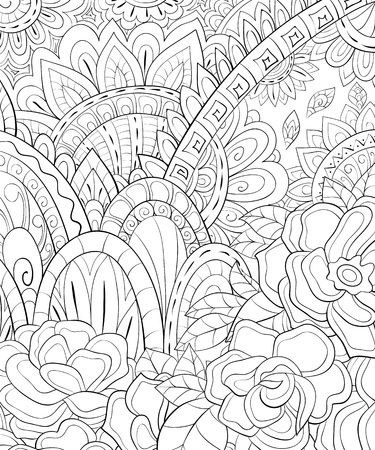 An abstract floral background image for adults.A coloring boo,page for relaxing activity.Zen art style illustration for print.Poster design.
