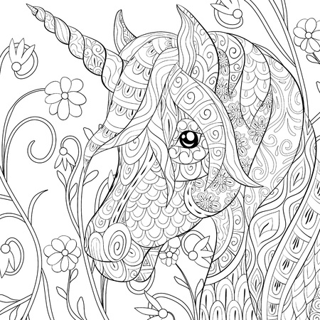 A cute  unicorn  with ornaments  image for relaxing.A coloring book,page for adults.Zen art style illustration for print.Poster design, Vectores