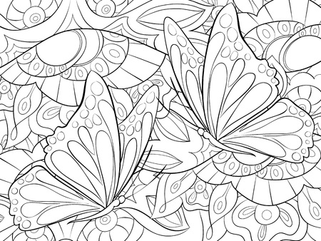 Un fondo floral abstracto con imagen de mariposas para adultos. Un abucheo para colorear, página para actividad relajante. Ilustración de estilo de arte Zen para imprimir. Diseño de póster. Ilustración de vector