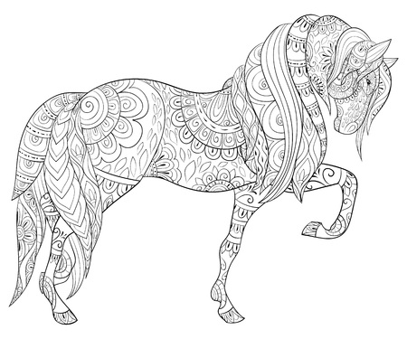 A cute horse with ornaments image for adults.Zen art style illustration for relaxing.Poster design for print.