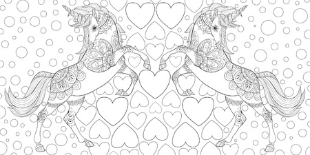 A pair of unicorns on the group of hearts image for relaxing.Zen art style illustration for print.