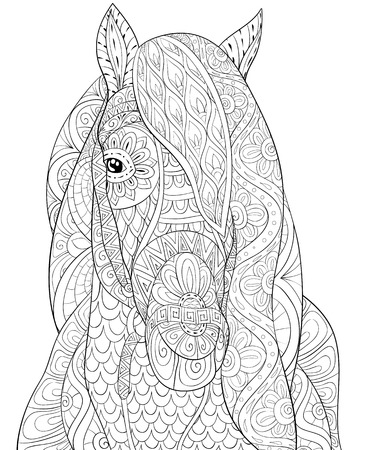 A head of horse with ornaments image for adults.Zen art style illustration for relaxing activity.Poster design for print.