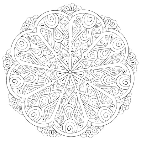 A zen mandala image for adults.A coloring book,page for relaxing activity.Zen art style illustration for print.Poster design. Ilustração