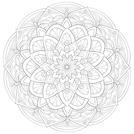 A zen mandala image for adults.A coloring book,page for relaxing activity.Zen art style illustration for print.Poster design.  イラスト・ベクター素材