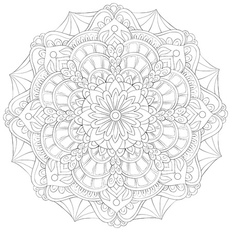 A zen mandala image for adults.A coloring book,page for relaxing activity.Zen art style illustration for print.Poster design. 일러스트