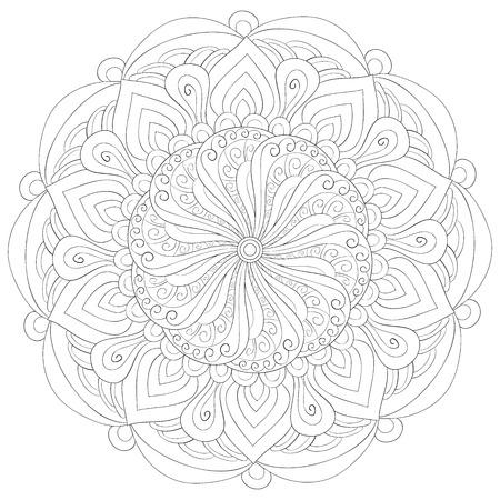 Una imagen de mandala zen para adultos. Un libro para colorear, página para actividad relajante. Ilustración de estilo de arte Zen para imprimir. Diseño de póster. Ilustración de vector