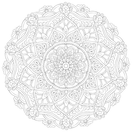 A zen mandala image for adults.A coloring book,page for relaxing activity.Zen art style illustration for print.Poster design.