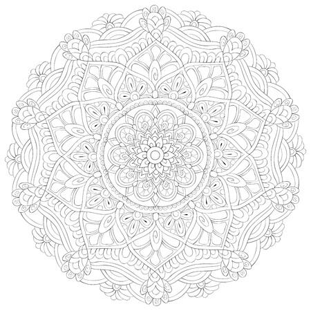 Un'immagine di mandala zen per adulti. Un libro da colorare, pagina per attività rilassanti. Illustrazione in stile arte zen per la stampa. Disegno del poster.