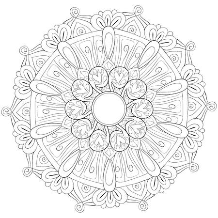 A zen mandala image for adults.A coloring book,page for relaxing activity.Zen art style illustration for print.Poster design. Vektoros illusztráció