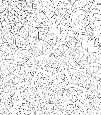An abstract floral background image for adults.A coloring boo,page for relaxing activity.Zen art style illustration for print.Poster design.  イラスト・ベクター素材