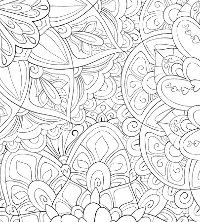 An abstract floral background image for adults.A coloring boo,page for relaxing activity.Zen art style illustration for print.Poster design. Illustration