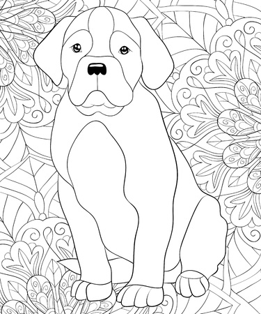 A cute dog on the abstract floral background image for adults.A coloring book,page for relaxing activity.Zen art style illustration for print.Poster design.
